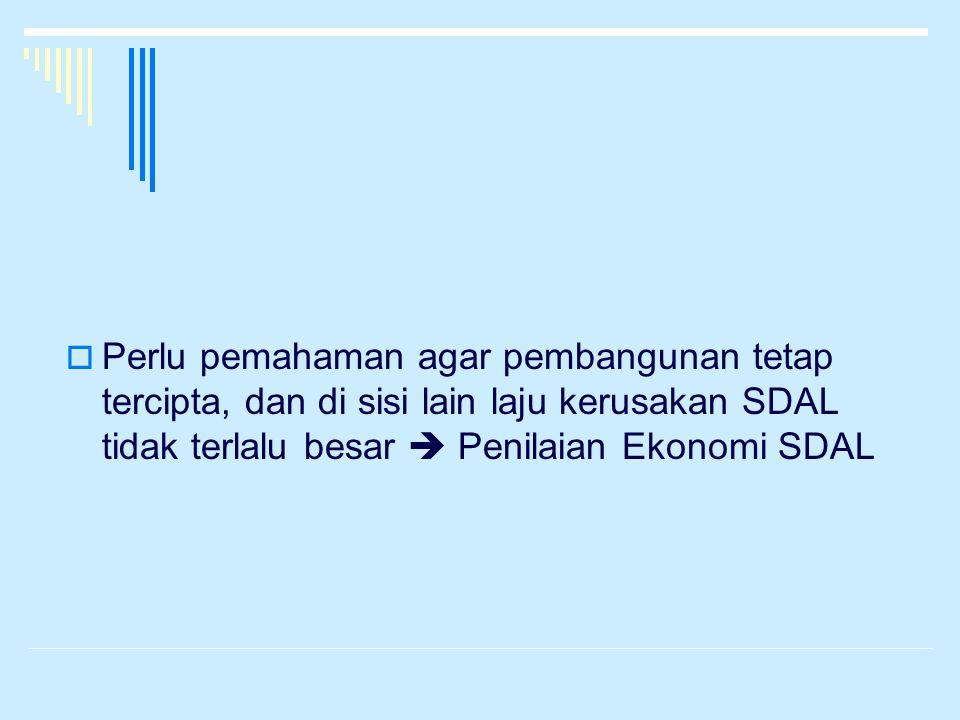 Perlu pemahaman agar pembangunan tetap tercipta, dan di sisi lain laju kerusakan SDAL tidak terlalu besar  Penilaian Ekonomi SDAL