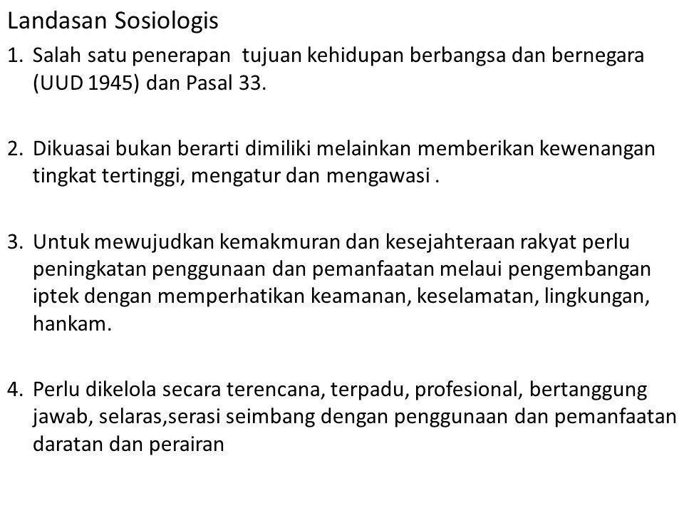 Landasan Sosiologis Salah satu penerapan tujuan kehidupan berbangsa dan bernegara (UUD 1945) dan Pasal 33.