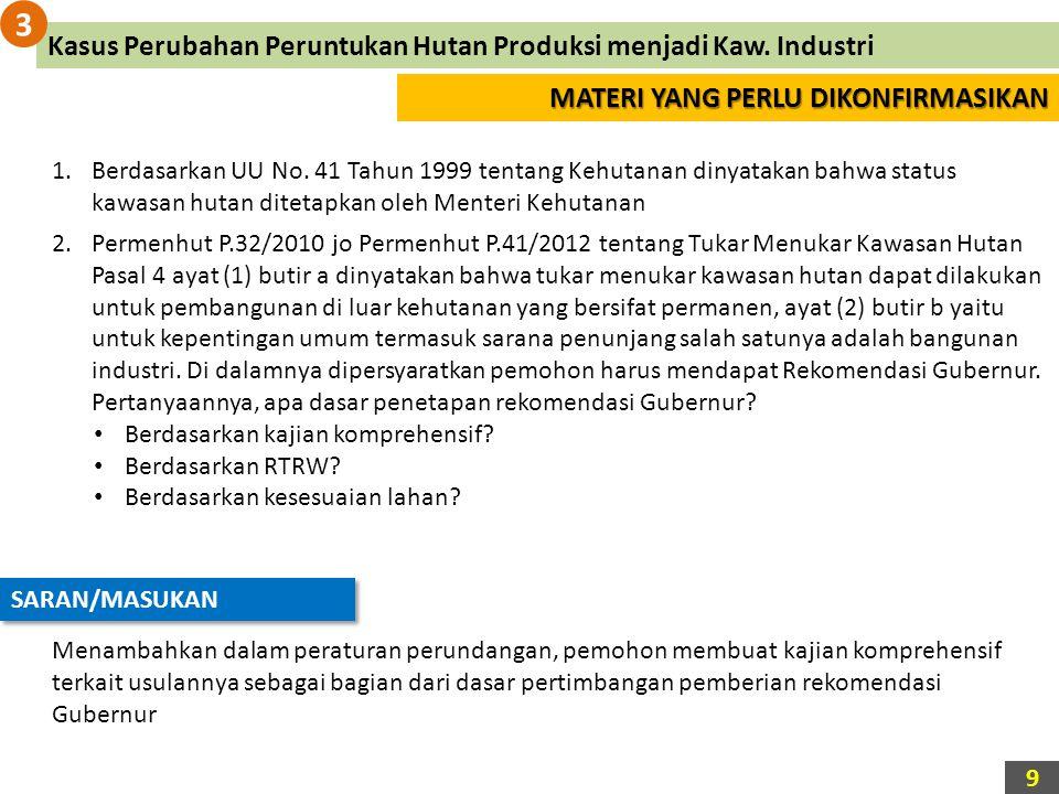 3 Kasus Perubahan Peruntukan Hutan Produksi menjadi Kaw. Industri