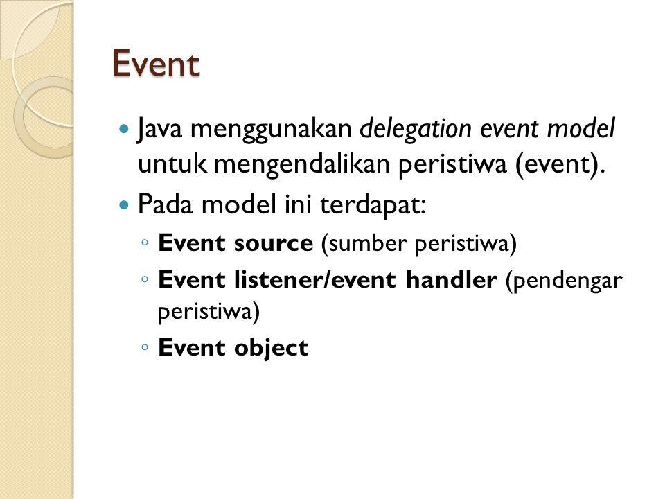 Event Java menggunakan delegation event model untuk mengendalikan peristiwa (event). Pada model ini terdapat:
