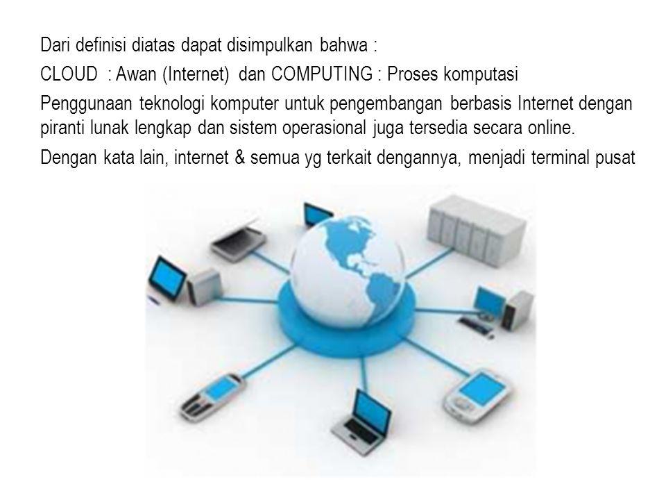 Dari definisi diatas dapat disimpulkan bahwa : CLOUD : Awan (Internet) dan COMPUTING : Proses komputasi Penggunaan teknologi komputer untuk pengembangan berbasis Internet dengan piranti lunak lengkap dan sistem operasional juga tersedia secara online.