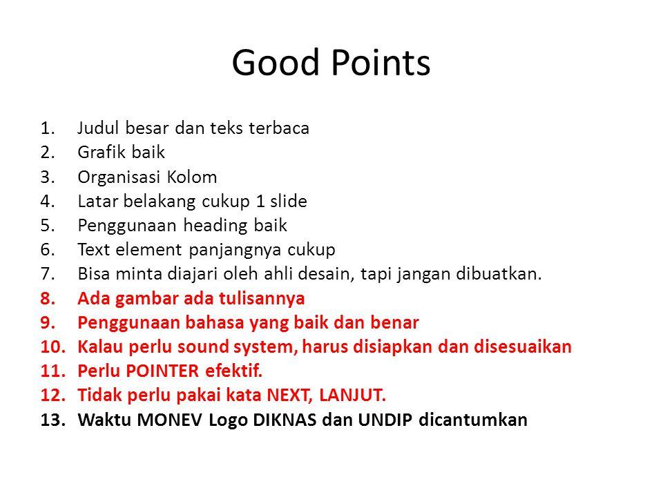 Good Points Judul besar dan teks terbaca Grafik baik Organisasi Kolom
