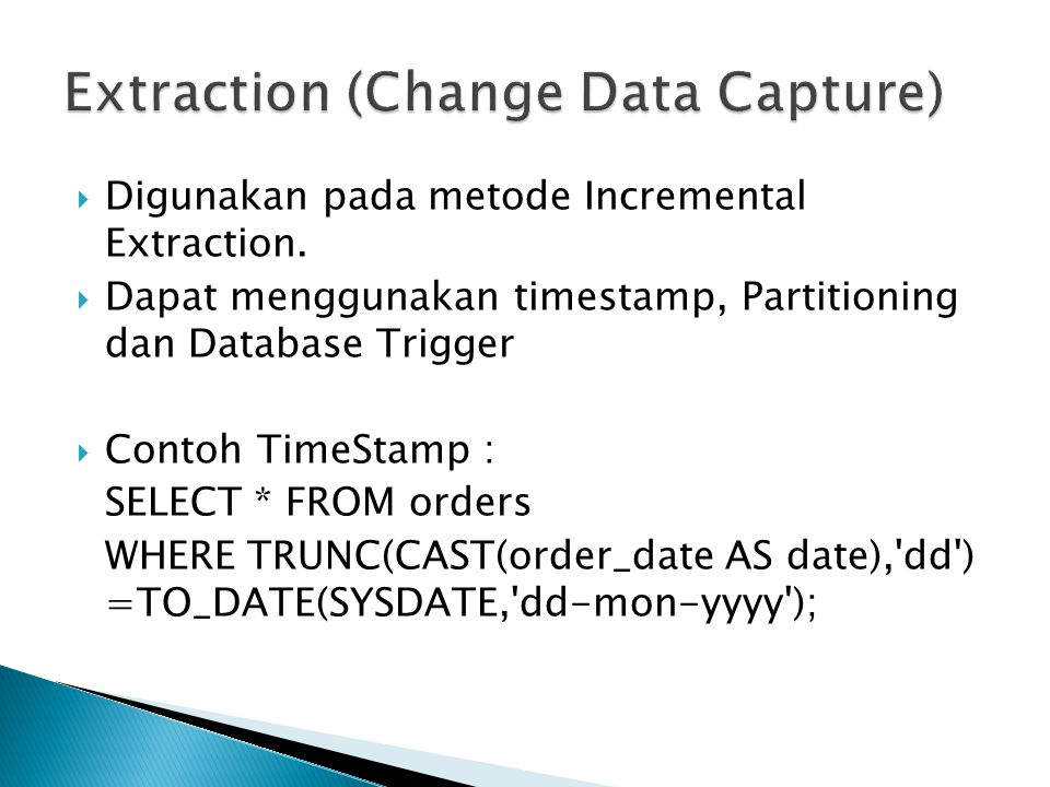 Extraction (Change Data Capture)