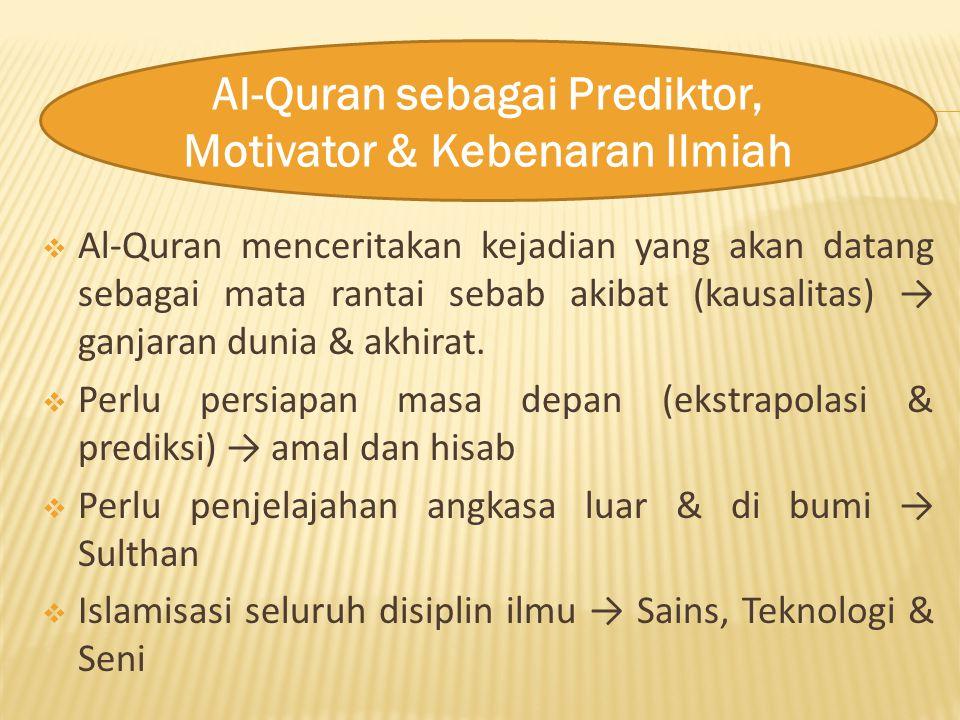 Al-Quran sebagai Prediktor, Motivator & Kebenaran Ilmiah