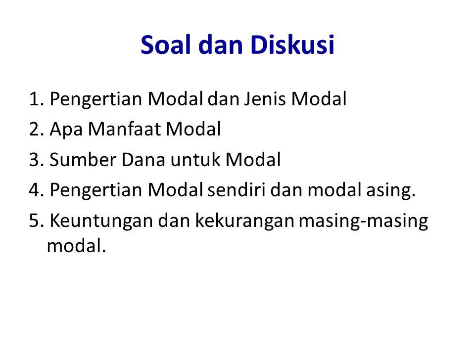 Soal dan Diskusi 1. Pengertian Modal dan Jenis Modal