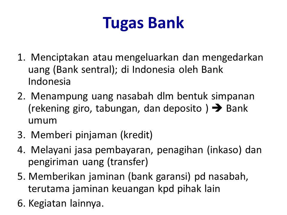 Tugas Bank 1. Menciptakan atau mengeluarkan dan mengedarkan uang (Bank sentral); di Indonesia oleh Bank Indonesia.