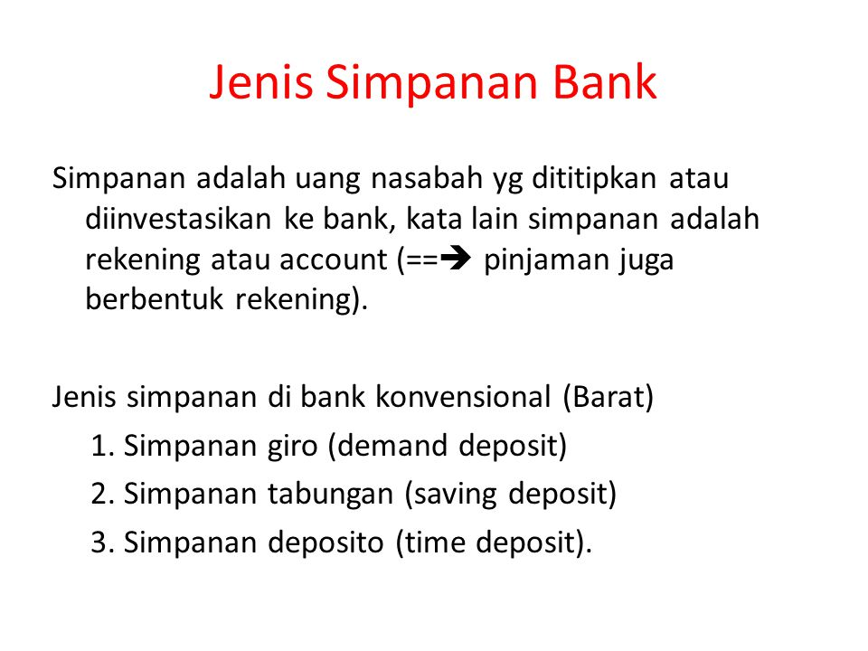 Jenis Simpanan Bank