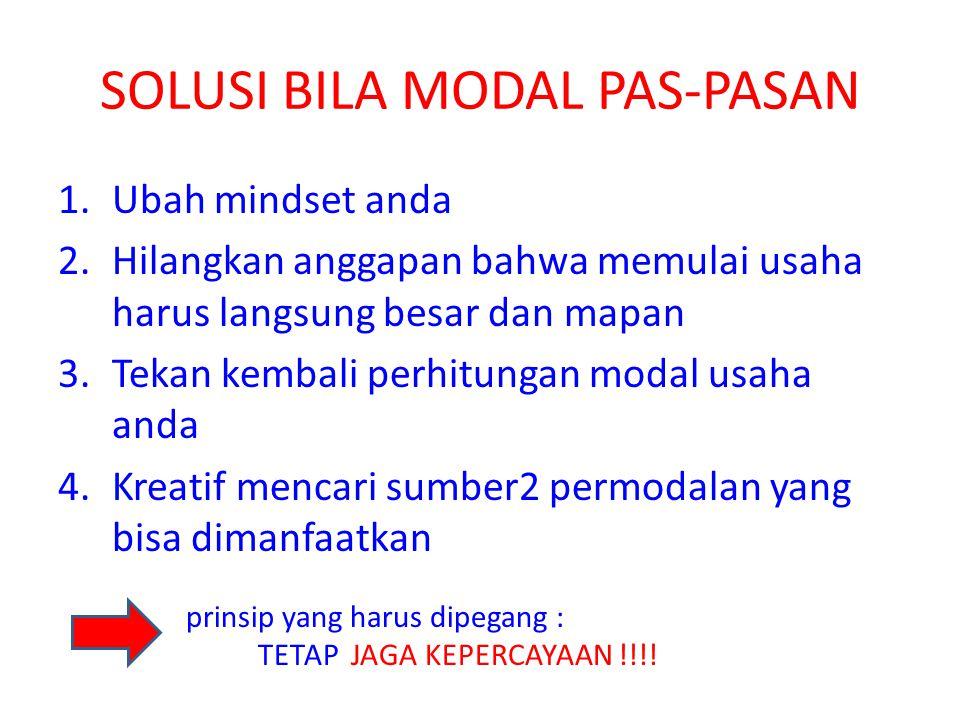 SOLUSI BILA MODAL PAS-PASAN