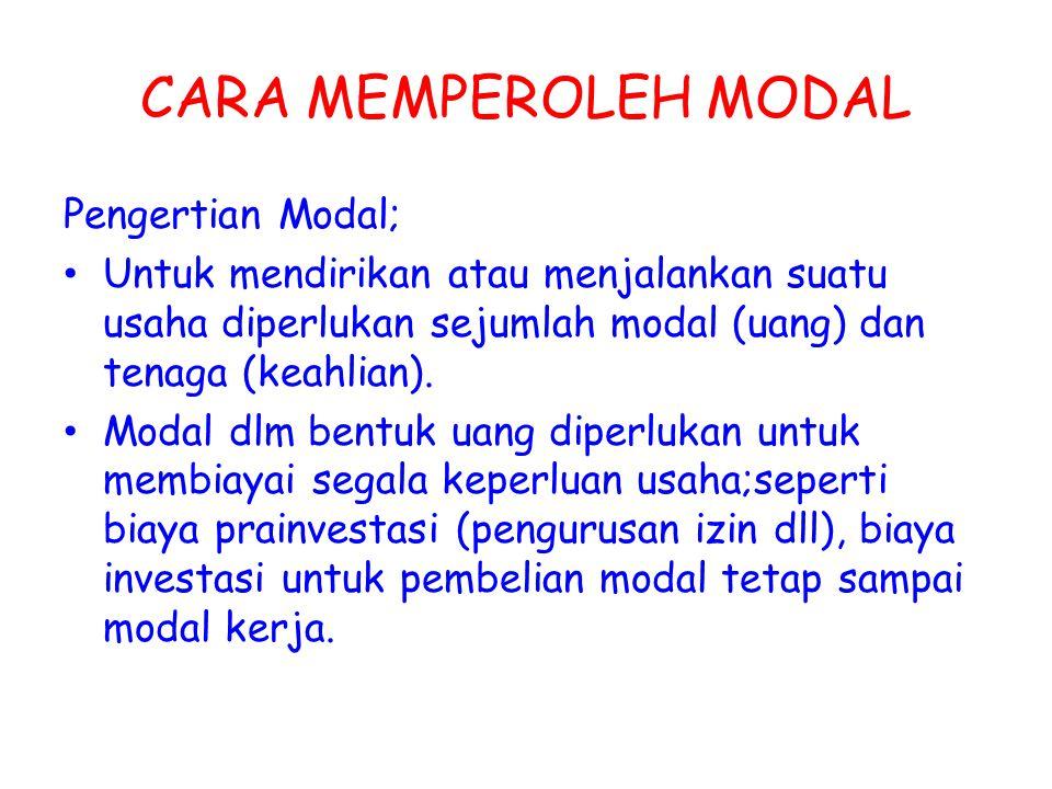 CARA MEMPEROLEH MODAL Pengertian Modal;