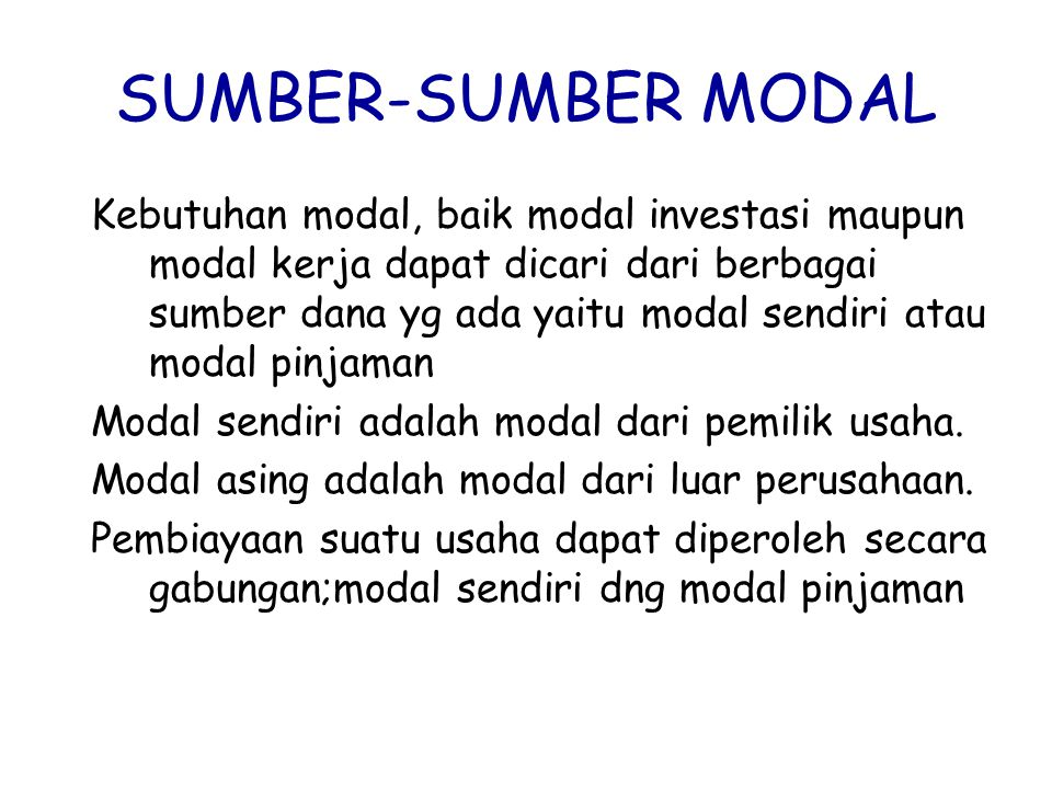 SUMBER-SUMBER MODAL