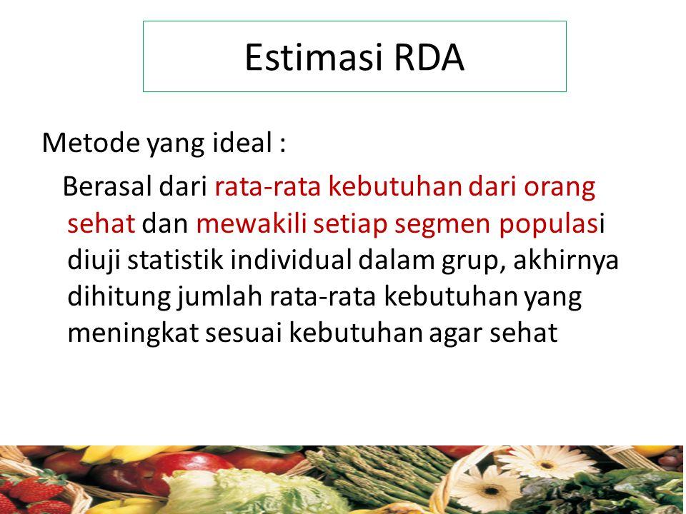 Estimasi RDA Metode yang ideal :
