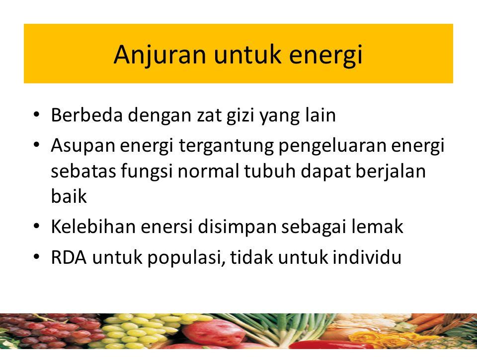 Anjuran untuk energi Berbeda dengan zat gizi yang lain
