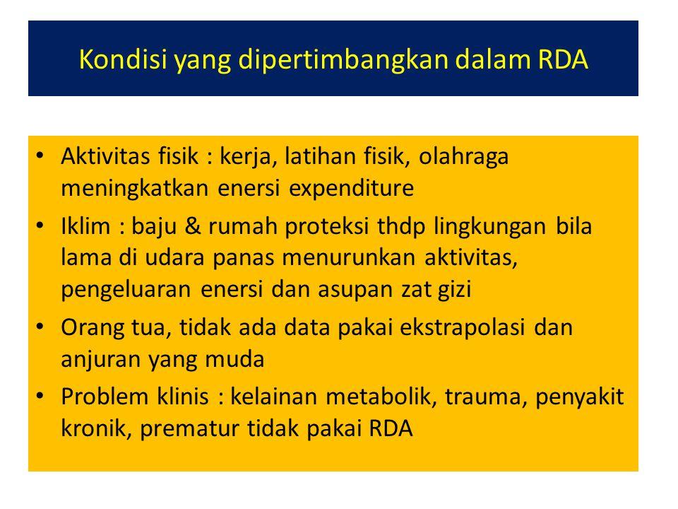 Kondisi yang dipertimbangkan dalam RDA