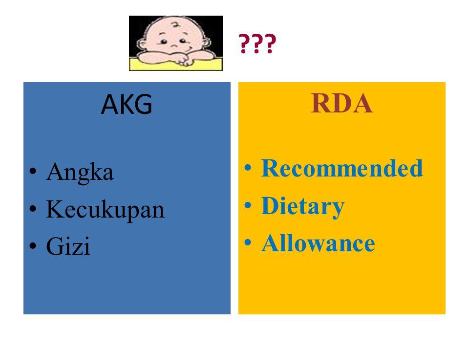 AKG Angka Kecukupan Gizi RDA Recommended Dietary Allowance