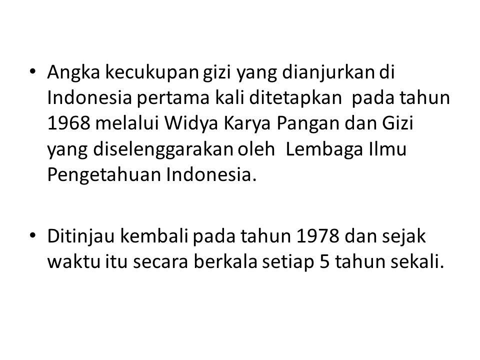 Angka kecukupan gizi yang dianjurkan di Indonesia pertama kali ditetapkan pada tahun 1968 melalui Widya Karya Pangan dan Gizi yang diselenggarakan oleh Lembaga Ilmu Pengetahuan Indonesia.