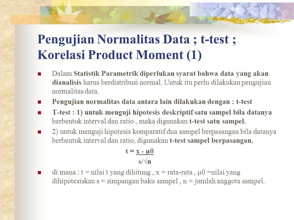 Pengujian Normalitas Data ; t-test ; Korelasi Product Moment (1)