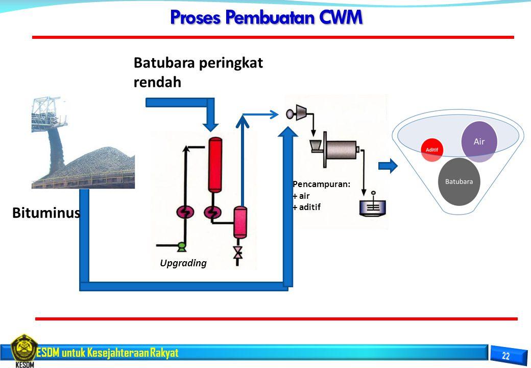 Proses Pembuatan CWM Batubara peringkat rendah Bituminus Upgrading
