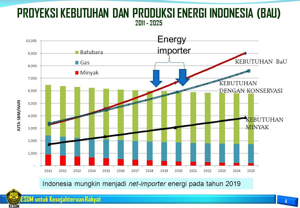 PROYEKSI KEBUTUHAN DAN PRODUKSI ENERGI INDONESIA (BAU)