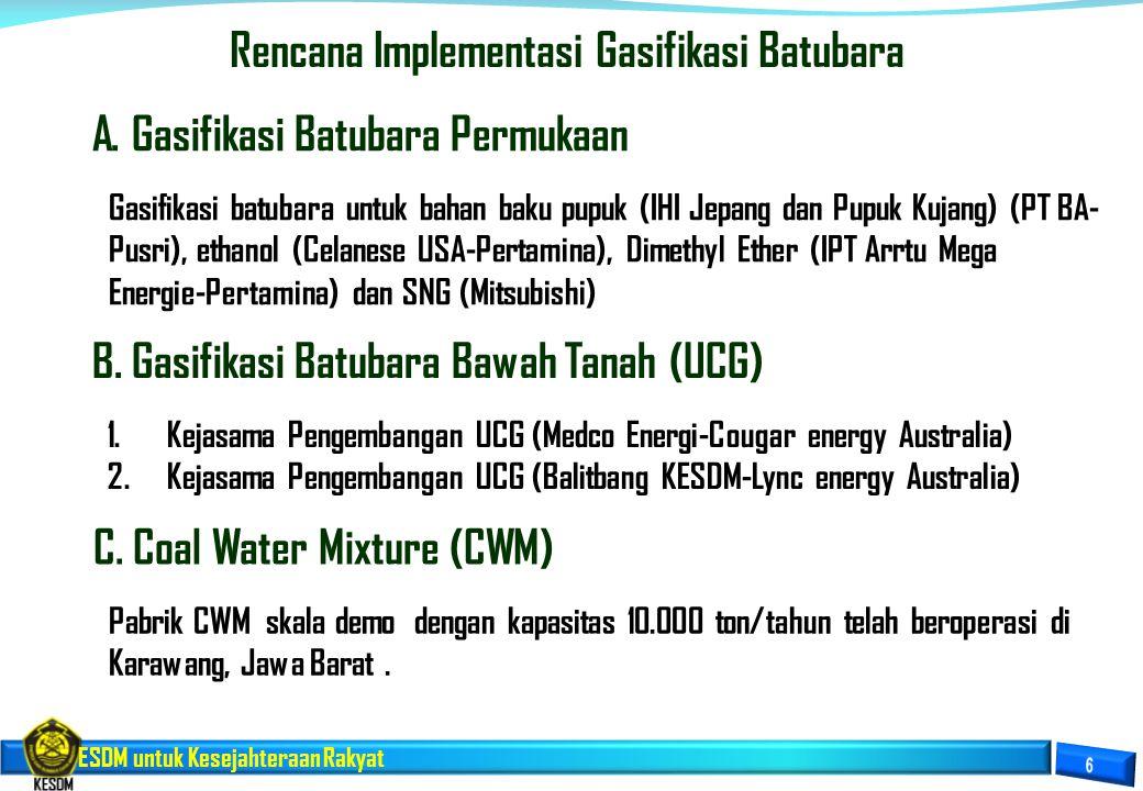 Rencana Implementasi Gasifikasi Batubara
