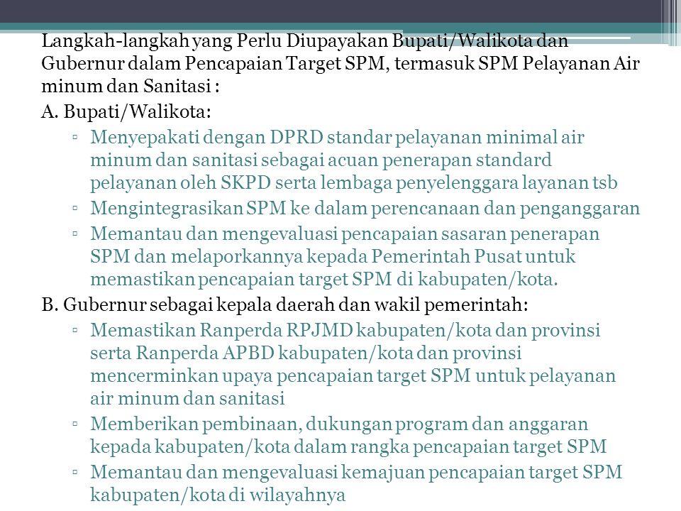 Langkah-langkah yang Perlu Diupayakan Bupati/Walikota dan Gubernur dalam Pencapaian Target SPM, termasuk SPM Pelayanan Air minum dan Sanitasi :