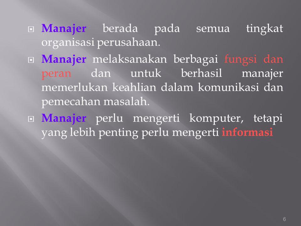 Manajer berada pada semua tingkat organisasi perusahaan.