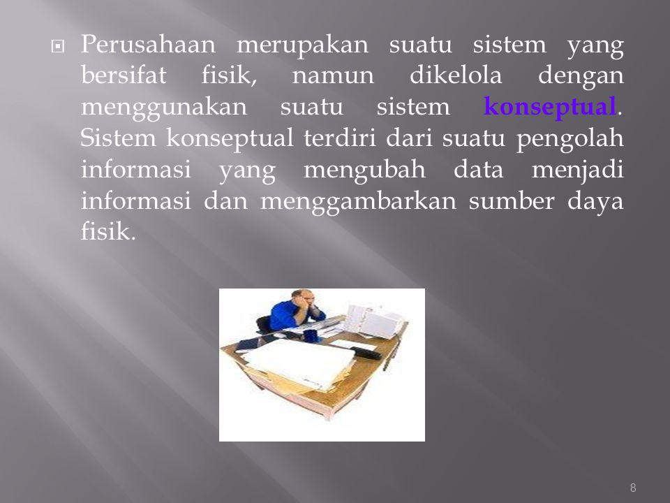 Perusahaan merupakan suatu sistem yang bersifat fisik, namun dikelola dengan menggunakan suatu sistem konseptual.