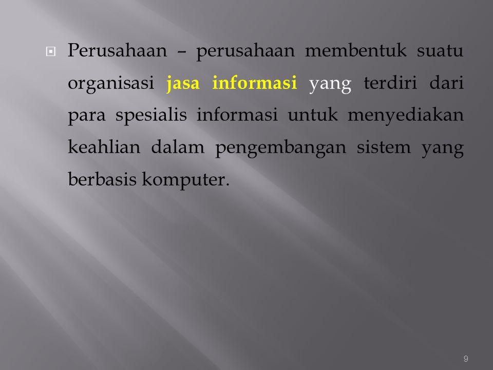 Perusahaan – perusahaan membentuk suatu organisasi jasa informasi yang terdiri dari para spesialis informasi untuk menyediakan keahlian dalam pengembangan sistem yang berbasis komputer.