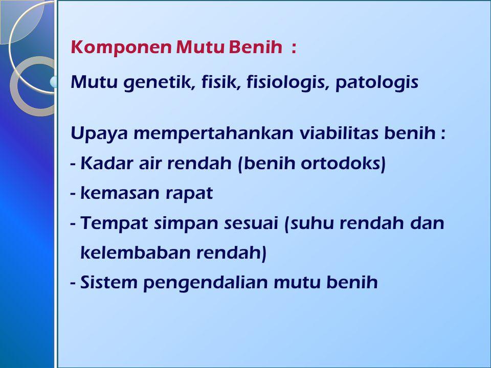 Komponen Mutu Benih : Mutu genetik, fisik, fisiologis, patologis. Upaya mempertahankan viabilitas benih :