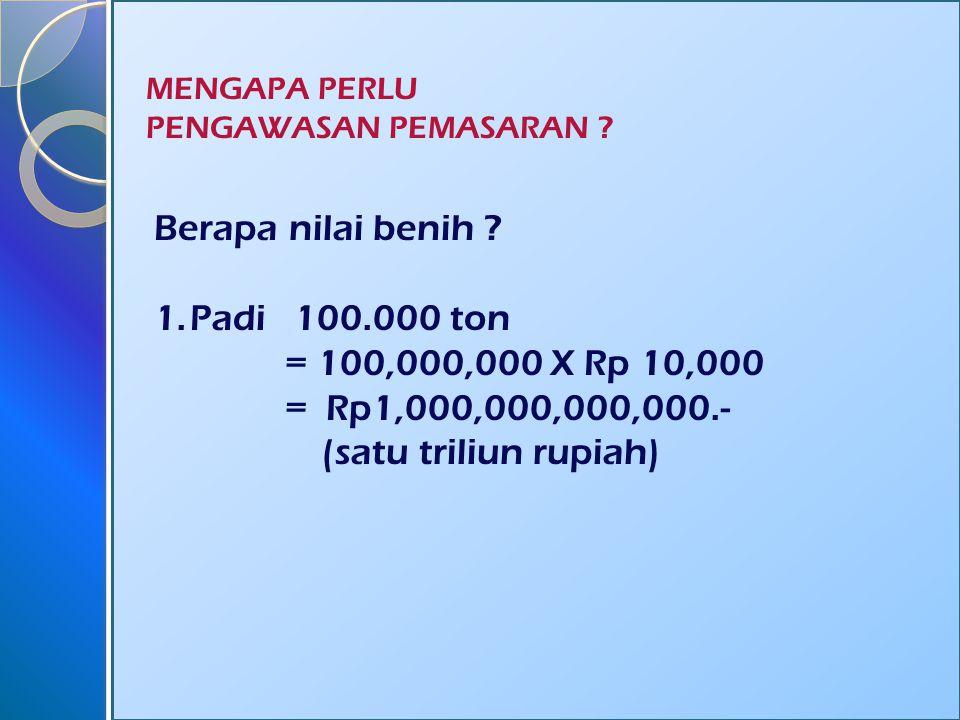 Berapa nilai benih Padi 100.000 ton = 100,000,000 X Rp 10,000