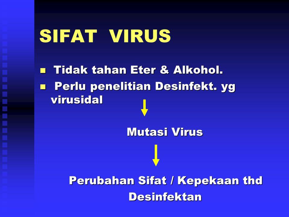 SIFAT VIRUS Tidak tahan Eter & Alkohol.