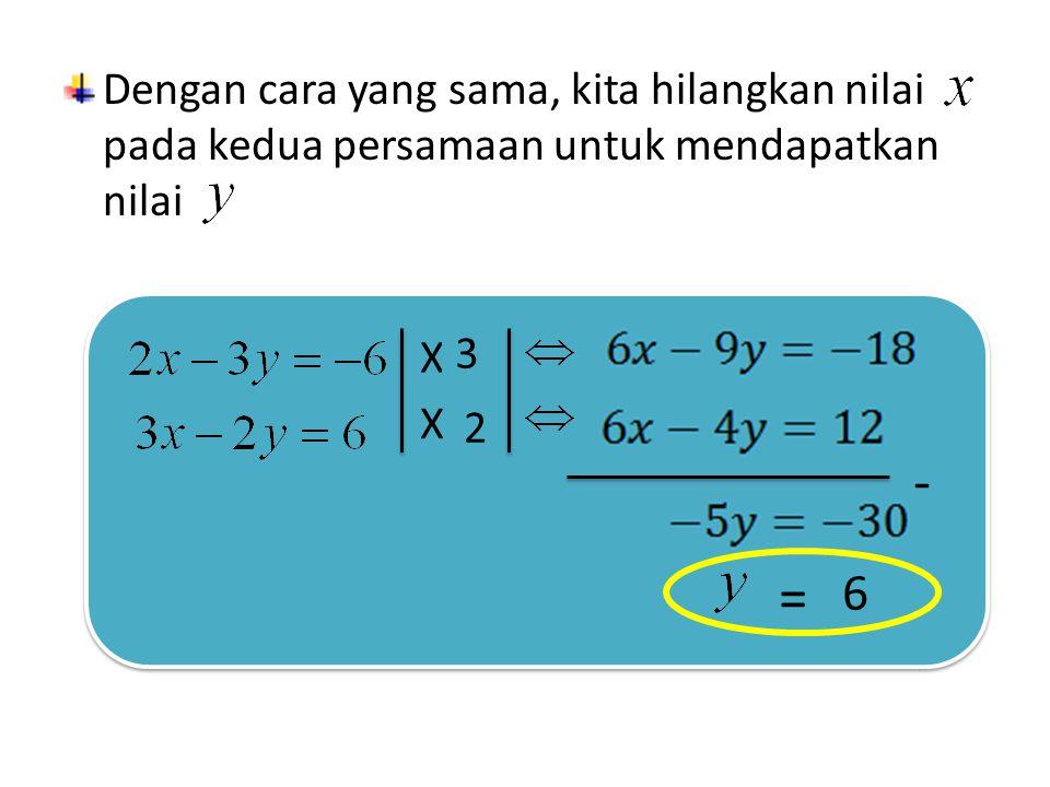 Dengan cara yang sama, kita hilangkan nilai pada kedua persamaan untuk mendapatkan nilai