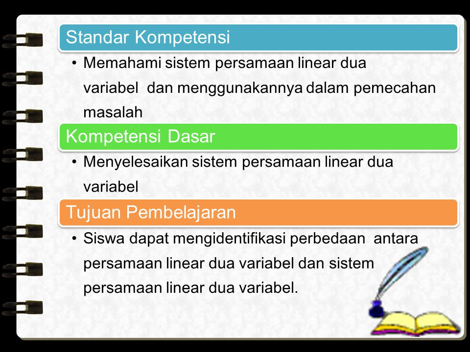 Standar Kompetensi Kompetensi Dasar Tujuan Pembelajaran