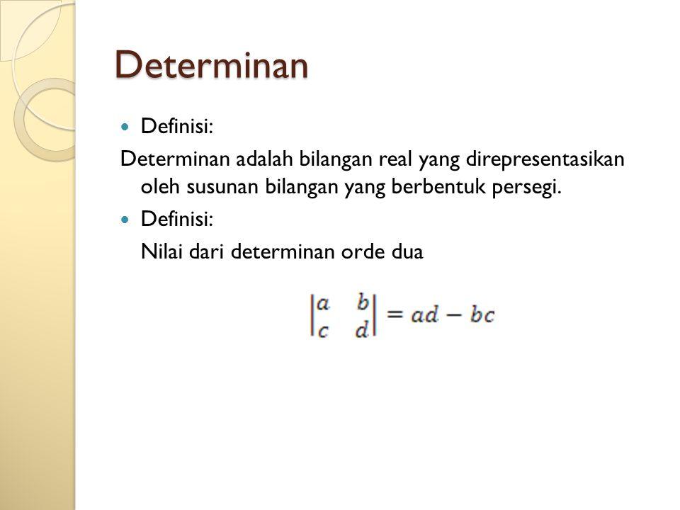 Determinan Definisi: Determinan adalah bilangan real yang direpresentasikan oleh susunan bilangan yang berbentuk persegi.