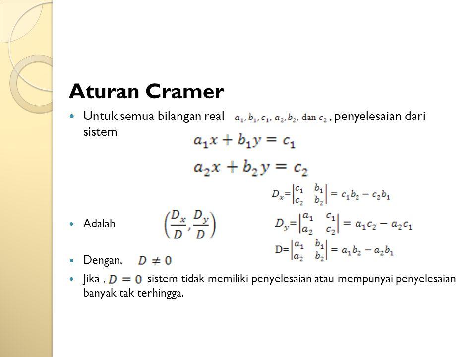 Aturan Cramer Untuk semua bilangan real , penyelesaian dari sistem