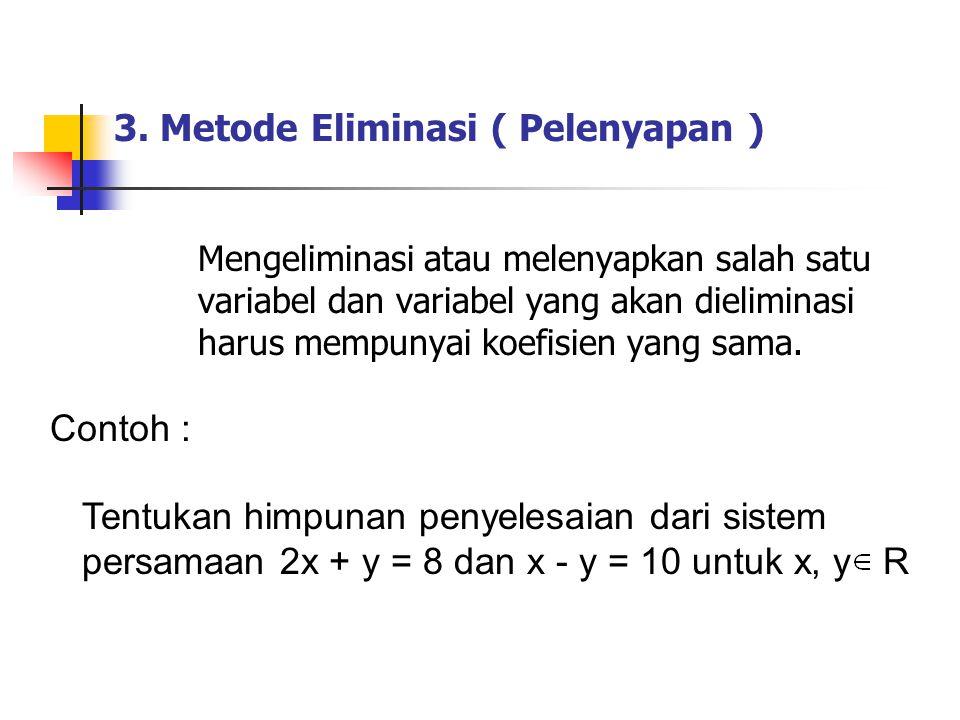 3. Metode Eliminasi ( Pelenyapan )