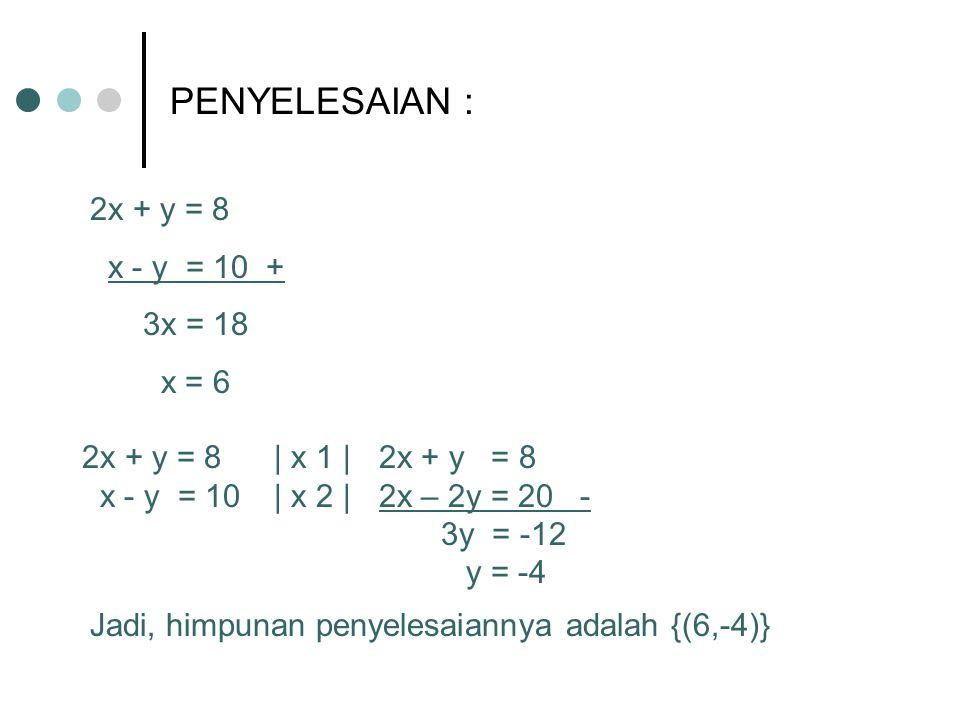 PENYELESAIAN : 2x + y = 8 x - y = 10 + 3x = 18 x = 6