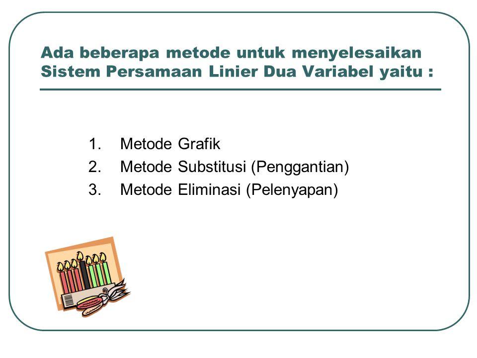 Ada beberapa metode untuk menyelesaikan Sistem Persamaan Linier Dua Variabel yaitu :