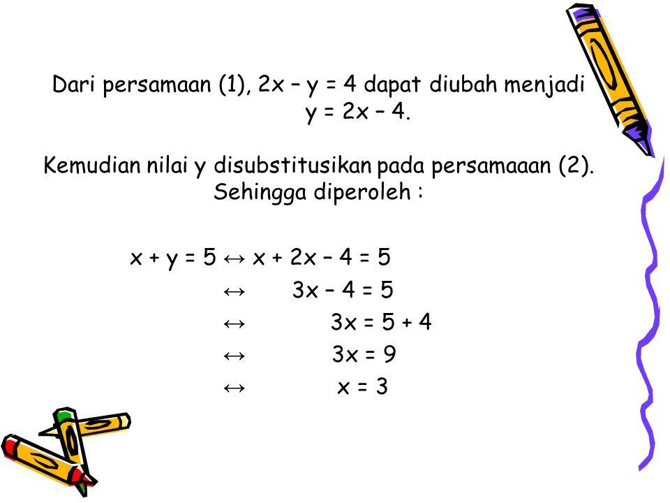 Dari persamaan (1), 2x – y = 4 dapat diubah menjadi. y = 2x – 4
