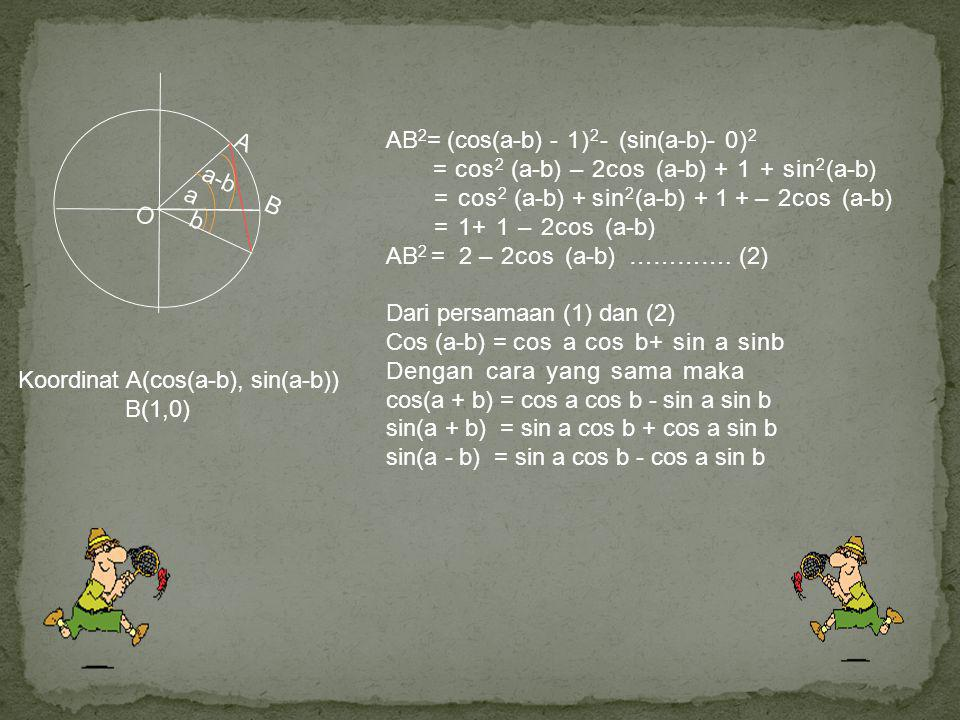 O a. b. a-b. B. A. AB2= (cos(a-b) - 1)2- (sin(a-b)- 0)2. = cos2 (a-b) – 2cos (a-b) + 1 + sin2(a-b)