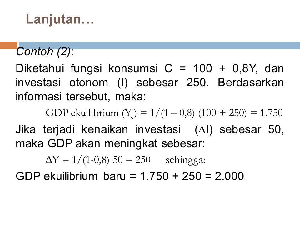 Lanjutan… Contoh (2): Diketahui fungsi konsumsi C = 100 + 0,8Y, dan investasi otonom (I) sebesar 250. Berdasarkan informasi tersebut, maka: