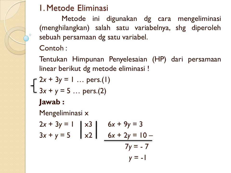 1. Metode Eliminasi