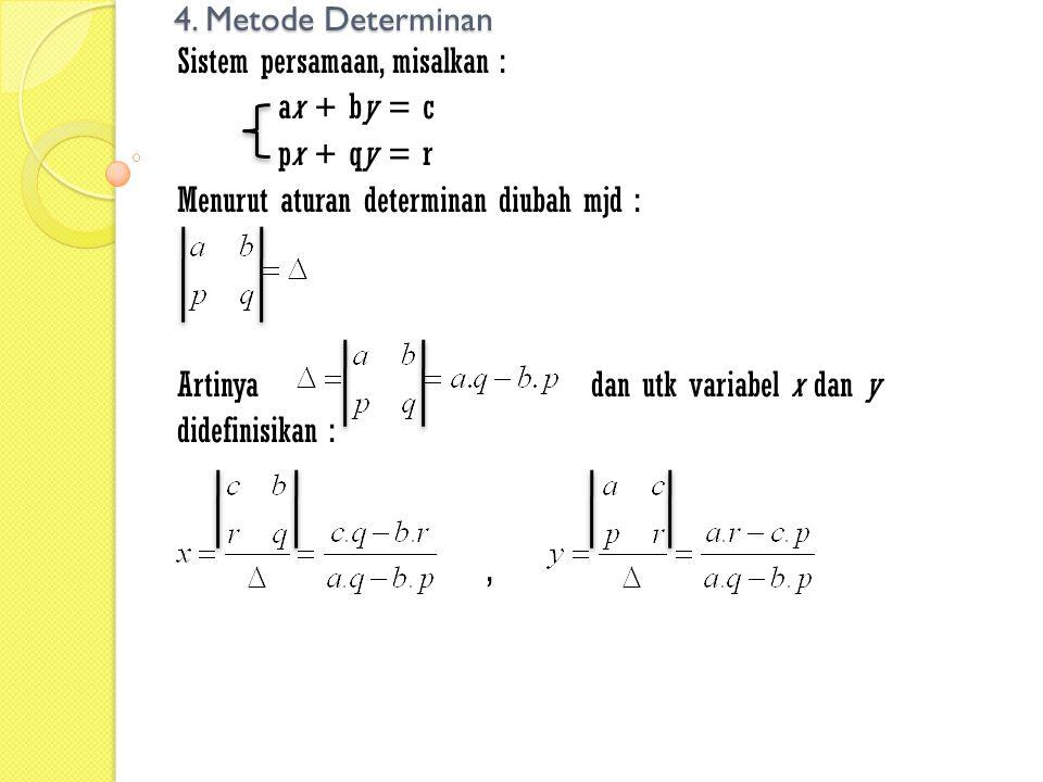 4. Metode Determinan Sistem persamaan, misalkan : ax + by = c. px + qy = r. Menurut aturan determinan diubah mjd :