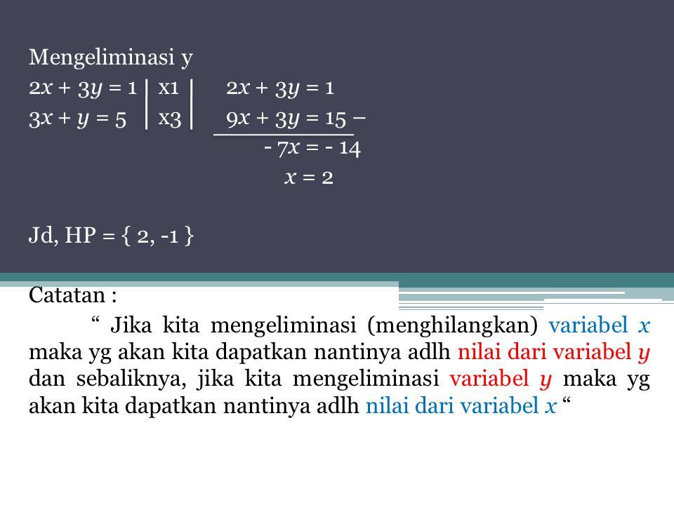 Mengeliminasi y 2x + 3y = 1 x1 2x + 3y = 1. 3x + y = 5 x3 9x + 3y = 15 – - 7x = - 14. x = 2. Jd, HP = { 2, -1 }