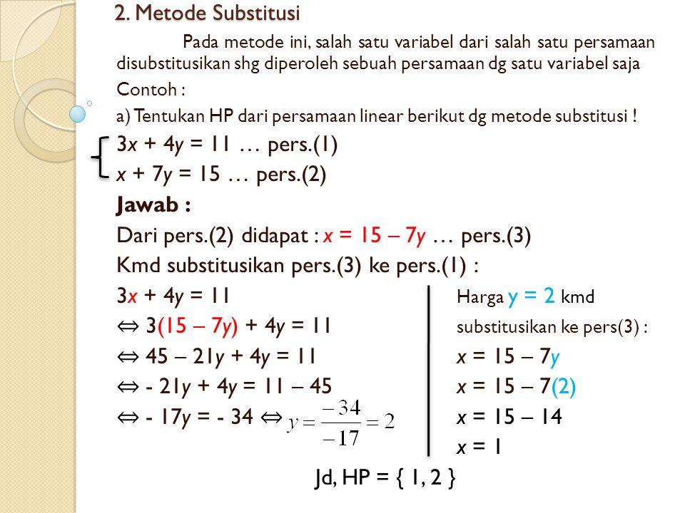 Dari pers.(2) didapat : x = 15 – 7y … pers.(3)