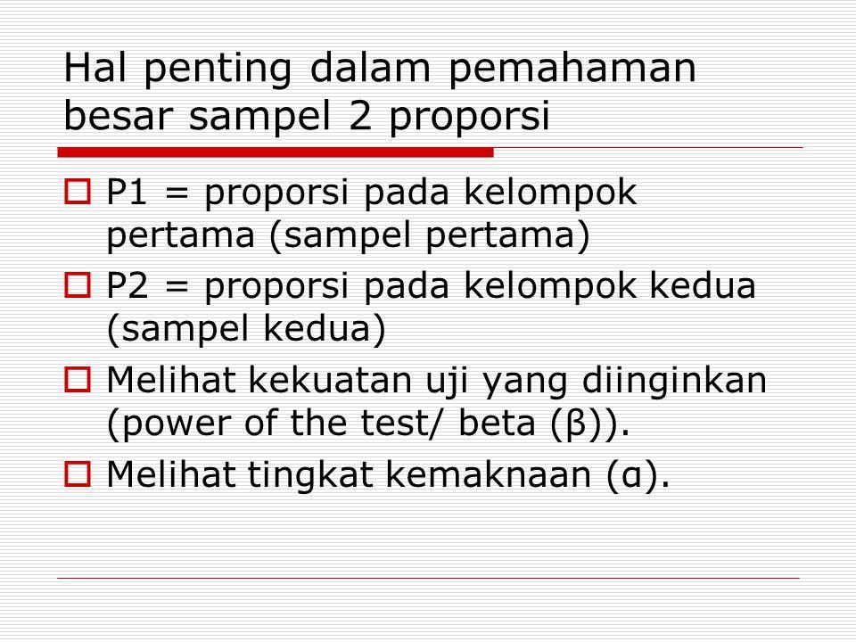 Hal penting dalam pemahaman besar sampel 2 proporsi