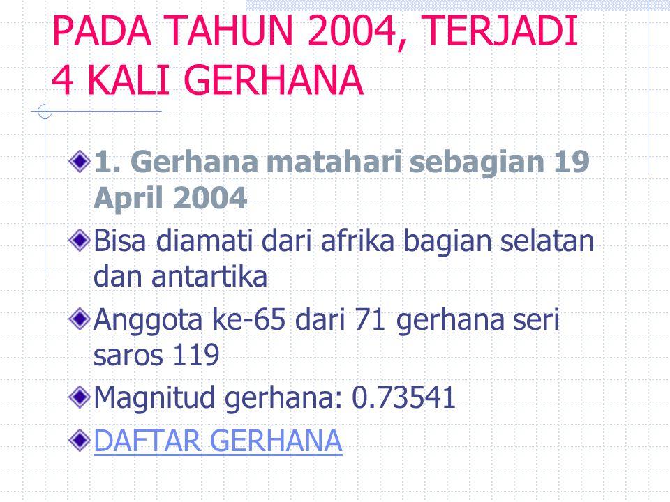 PADA TAHUN 2004, TERJADI 4 KALI GERHANA