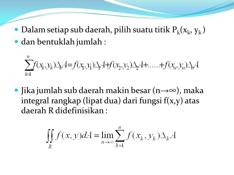 Dalam setiap sub daerah, pilih suatu titik Pk(xk, yk )