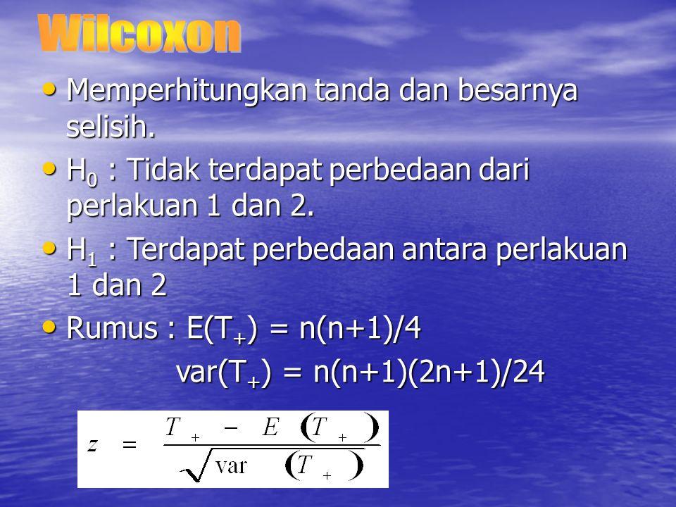Wilcoxon Memperhitungkan tanda dan besarnya selisih. H0 : Tidak terdapat perbedaan dari perlakuan 1 dan 2.