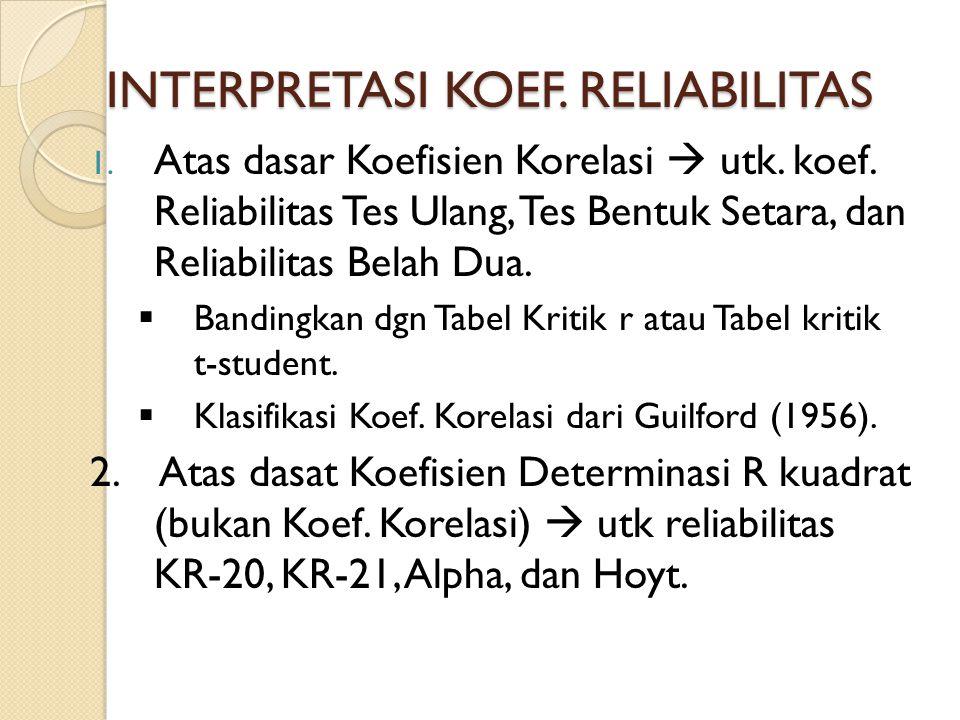 INTERPRETASI KOEF. RELIABILITAS