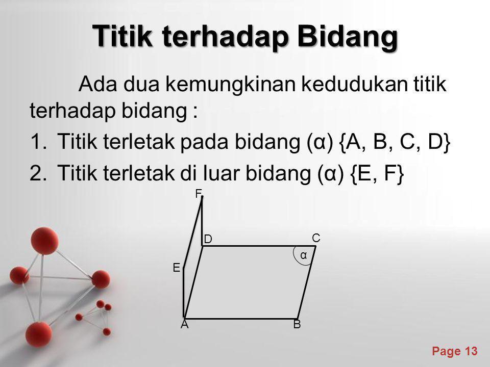 Titik terhadap Bidang Ada dua kemungkinan kedudukan titik terhadap bidang : Titik terletak pada bidang (α) {A, B, C, D}